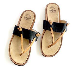 Sunjuns | shannon black leather thong sandals 8